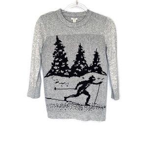 J Crew Factory intarsia skier 3/4 sleeve sweater